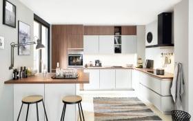 Einbauküche River/Laser in Nussbaum-Nachbildung/weiß, Siemens Geschirrspüler inklusive