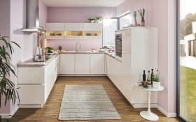 Einbauküche Flash, Hochglanz weiß, inklusive Leonard Elektrogeräte