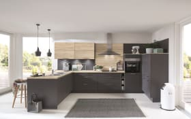Einbauküche Touch, schiefergrau, inklusive Bauknecht Elektrogeräte