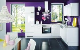 Einbauküche Flash 450 weiß Lacklaminat Hochglanz