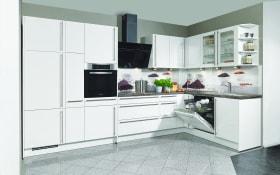 Einbauküche Focus in alpinweiß Hochglanz, Miele-Geschirrspüler