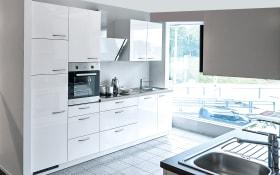 Einbauküche Lyon in Hochglanz weiß, Neff-Geschirrspüler