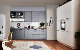 Einbauküche Metal in stahlgrau, Steinspüle