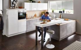 Einbauküche Lux in weiß Hochglanz, Neff-Geschirrspüler
