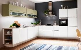 Einbauküche in weiß Lack softmatt, AEG-Geschirrspüler