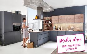 Einbauküche Sigma Lack in quarzgrau softmatt, Miele-Geschirrspüler