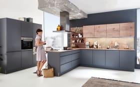 Einbauküche Sigma Lack in quarzgrau softmatt, Siemens-Geschirrspüler
