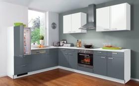 Einbauküche Star in anthrazit/weiß, AEG-Geschirrspüler