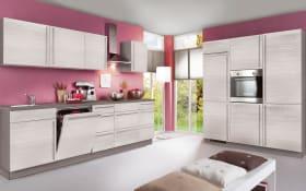 Einbauküche Plan in Eiche weiß matt Optik, Siemens-Geschirrspüler