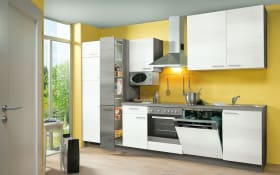 Einbauküche Plan in Eiche weiß matt, Zanker Geschirrspüler KDT10003FB