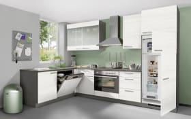 Einbauküche Plan 161 in Eiche weiß Optik, Ignis Geschirrspüler GBE-1B19-X