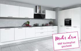 Marken-Einbauküche Faro in weiß, Miele-Geschirrspüler