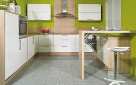 Marken-Einbauküche in magnolie
