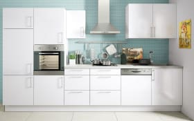 Marken-Einbauküche Cristall in weiß, Siemens-Geschirrspüler
