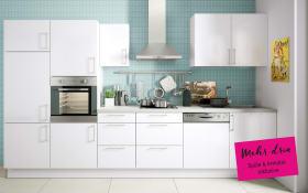 Marken-Einbauküche Cristall in weiß, Neff-Geschirrspüler
