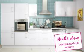 Marken-Einbauküche Cristall in weiß, Neff Induktionskochfeld