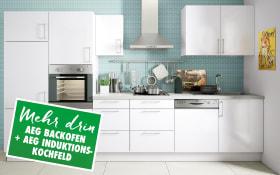 Marken-Einbauküche Cristall in weiß, AEG Backofen