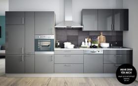 Einbauküche Cristall in grau, Siemens-Geschirrspüler SN614X00AE