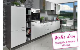 Einbauküche Laser brillant in weiß, Miele Backofen