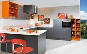 Einbauküche Uno in graphit, Miele-Geschirrspüler V4380VIED