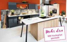 Einbauküche in Asteiche sand Optik, Miele-Geschirrspüler