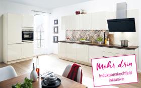Einbauküche Laser Brillant in magnolie, Neff Induktionskochfeld
