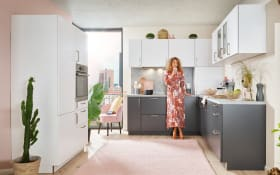 Einbauküche Uno, graphit/weiß, inklusive AEG Elektrogeräte