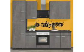 Einbauküche IP1200 in Beton-Optik, AEG Kühlschrank