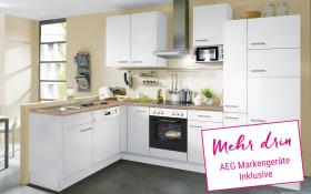 Einbauküche IP1200 in weiß, AEG-Geschirrspüler und Steinspüle