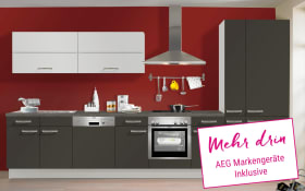 Einbauküche IP3150 in graphit kieselgrau matt, AEG-Geschirrspüler