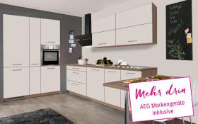 Einbauküche IP 1200 in magnolienweiß matt, AEG-Geschirrspüler + Steinspüle
