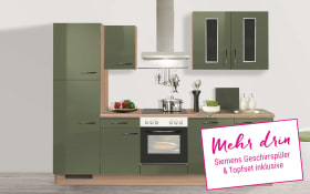 Einbauküche in Terra Opal, Siemens-Geschirrspüler und Vestel-Backofen