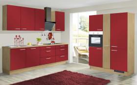 Marken-Einbauküche IP1200 in burgundrot, AEG-Geschirrspüler und Steinspüle