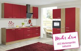 Marken-Einbauküche IP1200 in burgundrot