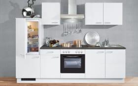 Marken-Einbauküche IP 1200 in weiß, Vestel Kühlschrank und Edelstahlspüle