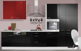 Einbauküche IP4050, schwarz Hochglanz, inklusive Elektrogeräte