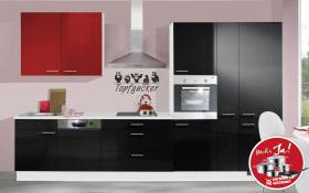 Einbauküche IP4050 in schwarz Hochglanz, Ignes-Geschirrspüler