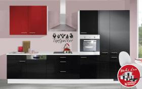 Einbauküche IP4050 in schwarz Hochglanz, Ignes-Geschirrspüler GBE1B19X