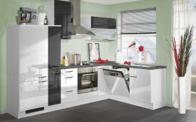 Marken-Einbauküche 742 PN 270 in Hochglanz weiß/schwarz