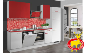 Einbauküche Pino 80 in weiß-chilirot, Siemens-Geschirrspüler
