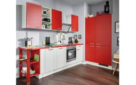 Einbauküche Pino 80 in weiß-chilirot, AEG-Geschirrspüler und Steinspüle