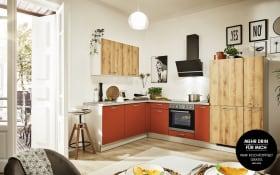 Einbauküche 700 PN 100 in Honig Eiche Optik, Zanker Geschirrspüler KDT10003FB