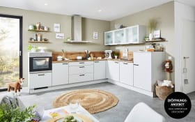 Einbauküche in lichtgrau, inklusive Zanker Geschirrspüler KDT10004FB