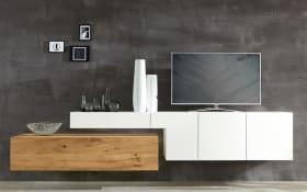 Wohnwand NW 440 in Lack bianco Matt/Absetzung in europäische Bohleneiche