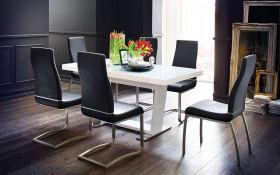 Stuhlgruppe Lana/Manhattan in weiß/grau/schwarz