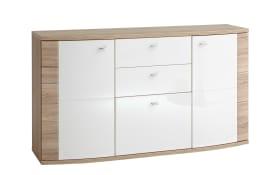 Sideboard Malaga in weiß / San Remo Eiche-Optik
