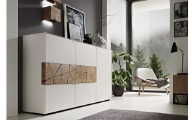 Highboard Caya in Mattglas weiß