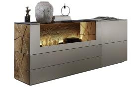 Sideboard Vara in Kerneiche Umato sägerau gebürstet / Titan