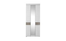 Garderobenschrank Funny in weiß Struktur/Silbereiche-Optik