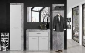 Garderobe Zumba in Beton-Optik/weiß